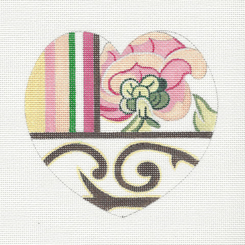 Heart~Pink Flower Heart Ornament handpainted Needlepoint Canvas By Raymond Crawford