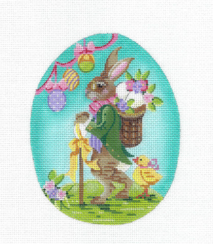 Kelly Clark - LG. Mr. Fritz Easter Egg handpainted Needlepoint Canvas by Kelly Clark