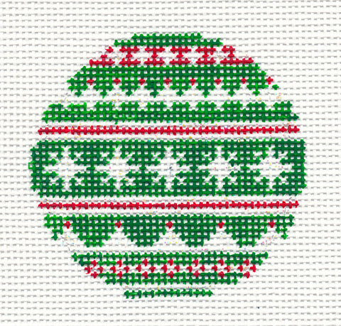 "Round~3"" Nordic Sweater Ornament handpainted Needlepoint Canvas"
