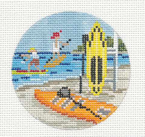 "Round~3"" Paddle Board Ornament handpainted Needlepoint Canvas~by Needle Crossings"