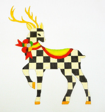 Canvas~Standing B&W Check Reindeer handpaint Needlepoint Canvas Raymond Crawford