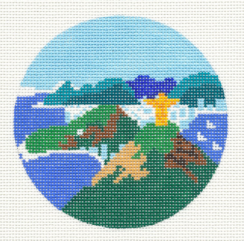 "Round~4"" Brazil~ Destination round handpainted Needlepoint Canvas~by Painted Pony  **MAY NEED TO BE SPECIAL ORDERED**"