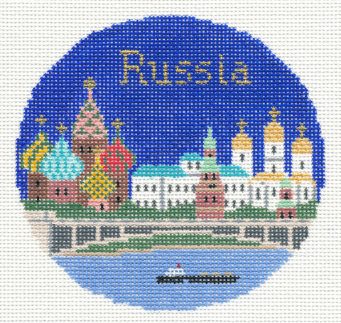 "Round~4.25"" Russia handpainted Needlepoint Canvas~by Silver Needle"