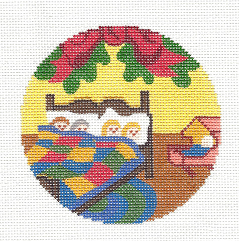 "Round~4.25"" Asleep in Their Bed handpainted Needlepoint Canvas~by Silver Needle"