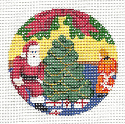"Round~4"" Santa's Here handpainted Needlepoint Canvas~by Silver Needle"