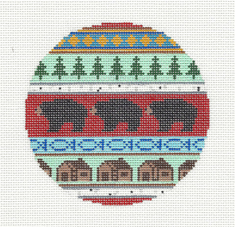"Round~4.25"" Bear & Cabins handpainted Needlepoint Canvas~by Silver Needle"