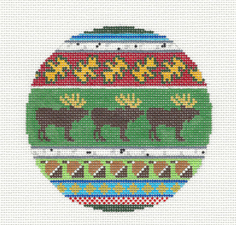 "Round~4.25"" Moose & Acorns handpainted Needlepoint Canvas~by Silver Needle"