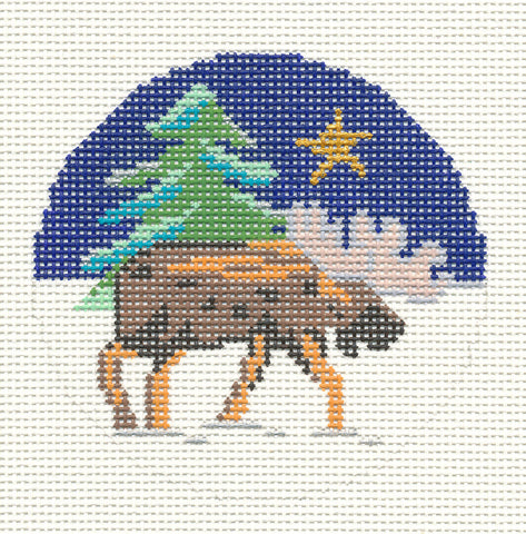 "Round~4.5"" Winter Moose 13M handpainted Needlepoint Canvas~by Silver Needle"
