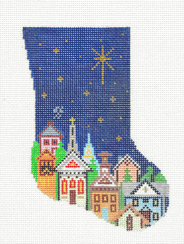 Stocking~ North Star Over the Village at Christmas Mini Stocking handpainted Needlepoint Canvas~by Silver Needle