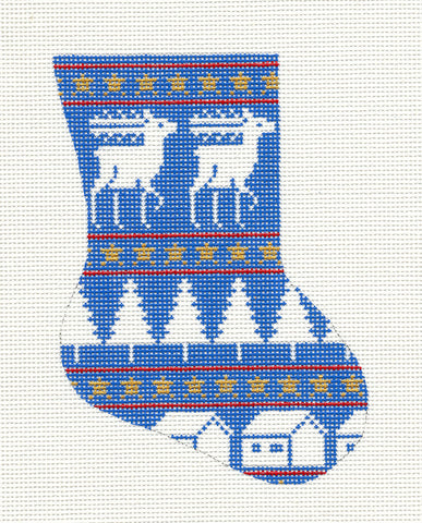 Stocking~Blue Reindeer Mini Stocking handpainted Needlepoint Ornament~by Silver Needle