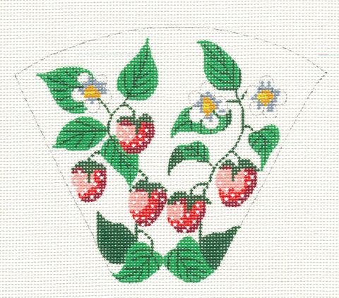 Scissor Case~Strawberries handpainted Needlepoint Canvas~by Silver Needle