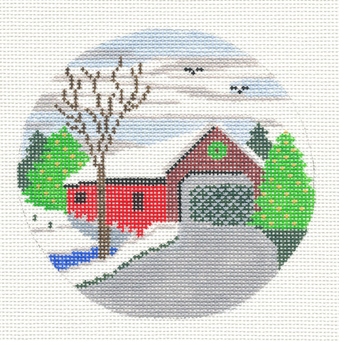 "Round~4.25"" Covered Bridge handpainted Needlepoint Canvas~by Silver Needle"