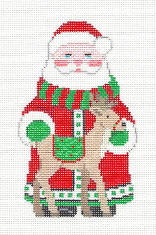 Santa~Santa and His Reindeer handpainted Needlepoint Canvas~by Susan Roberts