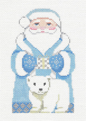 Santa~Arctic Santa and Polar Bear handpainted Needlepoint Canvas~ by Susan Roberts