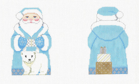 2 Sided Arctic Santa & Bear Ornament handpainted Needlepoint Canvas~ by Susan Roberts