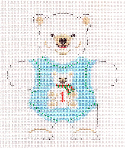 Canvas~Baby Boys 1st Birthday Bear in Blue handpainted Needlepoint Canvas~by Susan Roberts