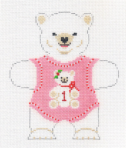 Canvas~Baby Girl Polar Bear 1st Birthday handpainted Needlepoint Canvas~by Susan Roberts
