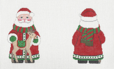 2 Sided Santa and Deer Ornament handpainted Needlepoint Canvas~ by Susan Roberts