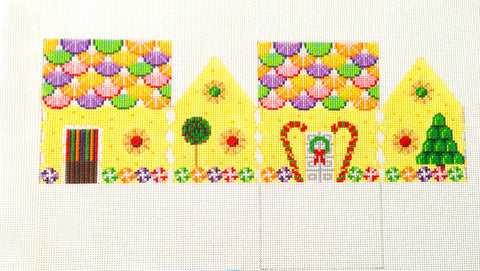 3D Fruit Slices Gingerbread House handpainted Needlepoint Canvas~ by Susan Roberts