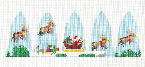 3D Flying Santa Dash Away handpainted Needlepoint Canvas~ by Susan Roberts