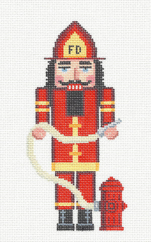 Nutcracker~Fireman Ornament handpainted Needlepoint Canvas~by Susan Roberts