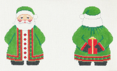 2 Sided Green Coat Santa with Hat Ornament handpainted Needlepoint Canvas~ by Susan Roberts