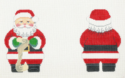 2 Sided Red Coat Santa with List Ornament handpainted Needlepoint Canvas~ by Susan Roberts