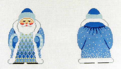 2 Sided Blue Coat Santa with Hat Ornament~ by Susan Roberts