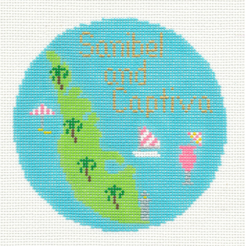 "Round~4.25"" Sanibel & Captiva Islands handpainted Needlepoint Canvas~by Silver Needle"