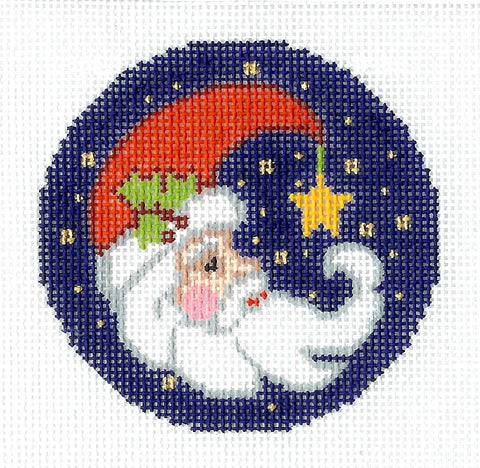 "Christmas ~ Crescent Moon Santa handpainted 3"" Rd. Needlepoint Canvas Ornament/Insert By LEE"