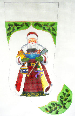 Stocking~Noah's Ark and Holly Stocking handpainted Needlepoint Canvas~by Susan Roberts