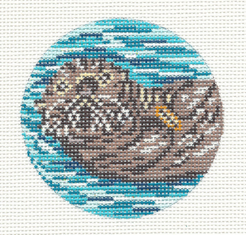 "Round~3"" Sea Otter with Shell Ornament handpainted Needlepoint Canvas~by Needle Crossings"