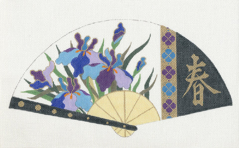 Fan~ LEE Japanese Oriental Pink Floral FAN Spring handpainted Needlepoint Canvas