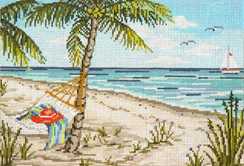 Canvas~Serene Tropical Beach Scene handpainted Needlepoint Canvas~by Needle Crossings