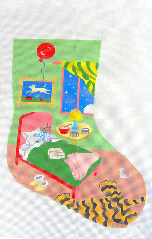 Stocking~Goodnight Moon Christmas Stocking handpainted Needlepoint Canvas
