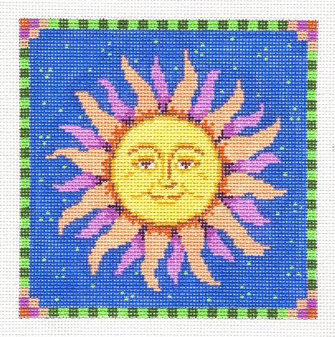 "Canvas ~ Smiling Sun 5"" Square handpainted Needlepoint Canvas by Susan Roberts"