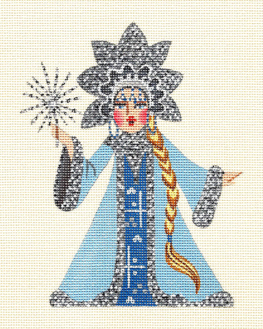 Canvas ~ SNOW MAIDEN in BLUE Elegant handpainted Needlepoint Canvas by Leigh Design