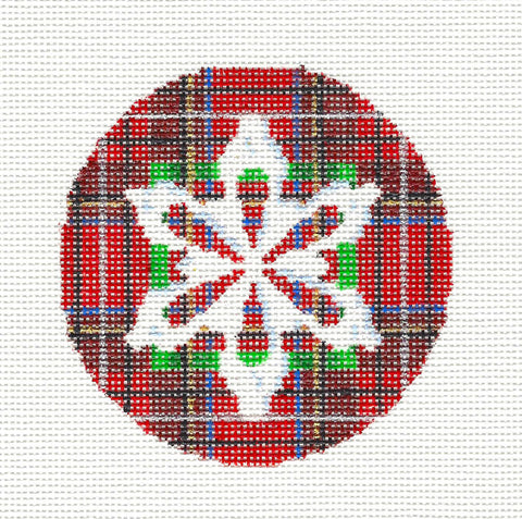"Christmas ~ Snowflakes On Plaid 3.5"" Round handpainted Needlepoint Ornament Assoc.Talents"