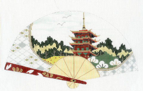 Fan~Oriental Temple Scene FAN handpainted Needlepoint Canvas ~ Kimono Avail~by Sophia