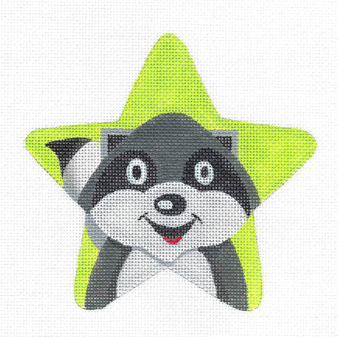 Animal STAR ~ RACCOON Star handpainted Needlepoint Canvas by Raymond Crawford