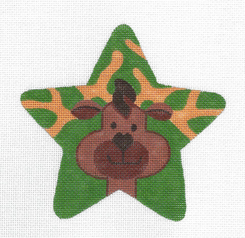 Animal STAR ~ REINDEER Star handpainted Needlepoint Canvas by Raymond Crawford