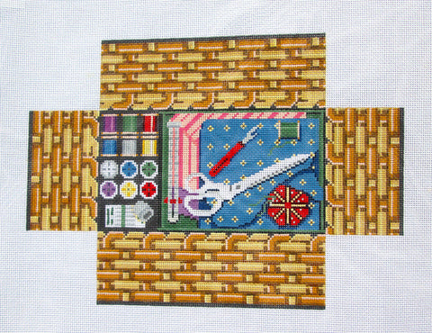 Brick Cover~Door Stop Sewing Basket handpainted Needlepoint Canvas~by Susan Roberts
