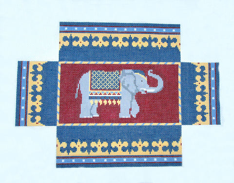 Brick Cover~Door Stop Elephant handpainted Needlepoint Canvas~by Susan Roberts ***SP.ORDER***