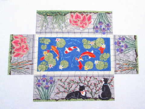 Brick Cover~Door Stop Summer Koi Pond handpainted Needlepoint Canvas~by Susan Roberts