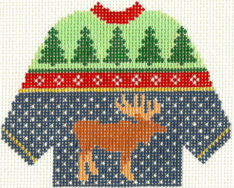 Sweater~Moose and Forest handpainted Needlepoint Canvas~by Silver Needle