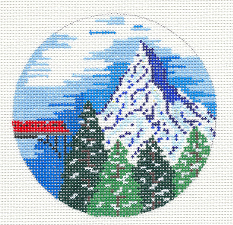 "Round~4"" Switzerland~ Destination round handpainted Needlepoint Canvas~ by Painted Pony Designs  **MAY NEED TO BE SPECIAL ORDERED**"