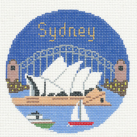 "Round~4.25"" Sydney handpainted Needlepoint Canvas~by Silver Needle"