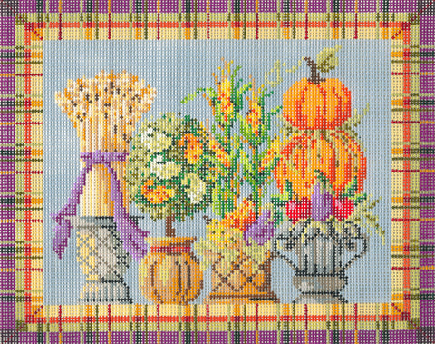 Kelly Clark Canvas – Autumn Topiaries Canvas & Stitch Guide handpainted Needlepoint Canvas ** SP. ORDER**