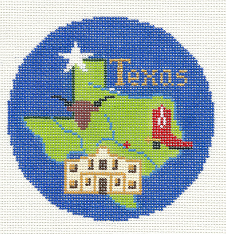 "Round~4.25"" Texas handpainted Needlepoint Canvas~by Silver Needle"