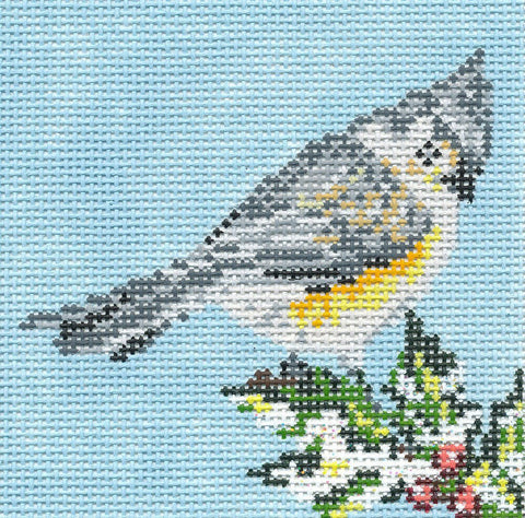Canvas~Tufted Titmouse Bird Ornament handpainted Needlepoint Canvas~by Needle Crossings